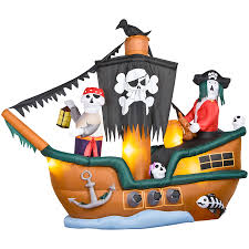 Halloween Airblown Inflatable Lawn Decorations by Shop Gemmy 8 Ft Animated Inflatable Halloween Skeleton Pirate Ship