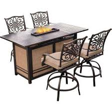5 Piece Bar Height Patio Dining Set by Hanover Bar Height Dining Sets Outdoor Bar Furniture The