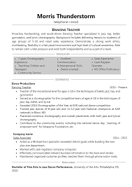 Dancing Teacher This Resume Is An Excellent Example Of The Person Who Has A Lot Professional Achievements That Are Included In Her