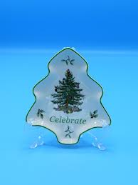 Spode Christmas Tree Celebrate Small Tray Vintage Shaped Candy Nut Dish S3324 Green Trim Holiday Dinnerware