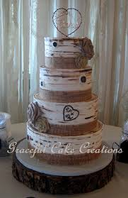 Rustic Birch Bark Wedding Cake With Burlap Ribbon And Roses