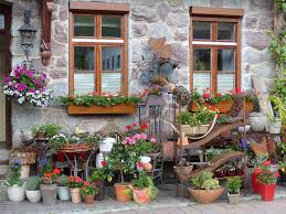 Beautiful Wood Flower Boxes In Windows Of Rustic Stone House