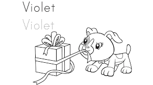 Violet Gets A Gift Coloring Page