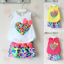 2Pcs Toddler Kids Baby Girls Summer Clothes TShirt TopsShorts