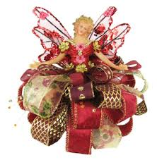 75 Burgundy And Gold Angel Christmas Tree Topper