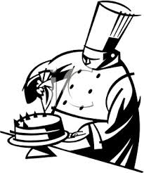 Black And White Clipart Picture A Chef Icing A Cake pertaining to Chef Clipart Black
