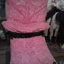 EUC LARGER PINK FUZZY CHAIR W MATCHING STOOL Pr Drop 25
