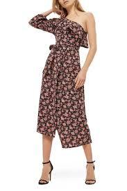 TOPSHOP Print Ruffle e Shoulder Midi Dress