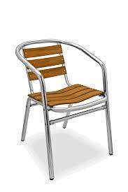 Florida Seating Commercial Aluminum Teak Outdoor Restaurant Chair