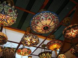 Iron Lighting Chandeliers Stained Glass Dining Room Colorful Chandelier Tiffany Style Ceiling Fixtures Deer Antler