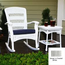 Tortuga Outdoor Costal White All-Weather Wicker Cushioned Seat ... Sunnydaze Outdoor Patio Rocking Chair Allweather Faux Wood Design Brown The Polywood Heritage Indoor Chairs White Pvc All Weather Coral Coast Losani Wicker Old Hickory Porch Hanover Adirondack Hvlnr10wh Fniture Best Way For Your Relaxing Using Pineapple Cay Allweather Choiceproducts Deck Proof With Cushions Magnificent Mainstays Briar Creek Padded Set Of 2 Multiple Colors