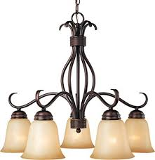Maxim Lighting 10124WSOI Basix 5 Light Chandelier Down Oil Rubbed Bronze With Wilshire