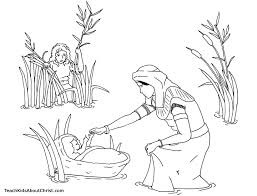 Coloring Page Of Baby Moses Basket