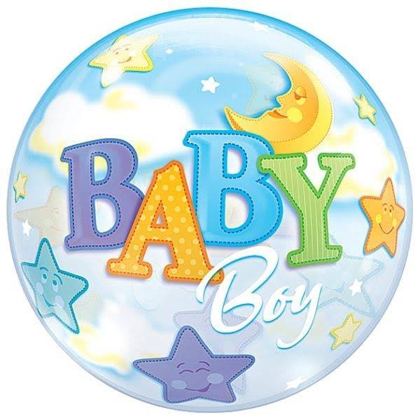 Qualatex Baby Boy Moon & Stars 3D Bubble Balloons - 60cm