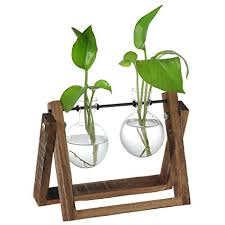 Decorative Clear Glass Planter Bulb Vases With Rustic Wood Metal Swivel Holder Stand