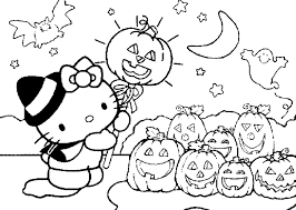 Cute Hello Kitty Halloween Coloring Pages For Kids With Pumkins