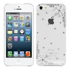 de luxe à strass pour apple iphone 5 5s transparent motif fleurs