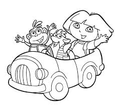 Dora Boots And Swiper Ride A Car In The Explorer Coloring Page