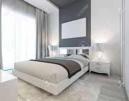 schlafzimmer im deco stil in weißen und grauen farben moderne sorgfältig die vorgebett mit nachttischen und nachttischlen mockup poster an