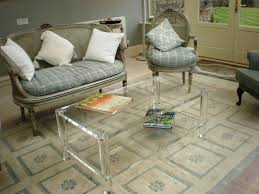 Small Spaces Rustic Living Room Design With Square Clear Acrylic Coffee Table Bookshelf And Vintage French Style Sofa Chair On Carpet Tiles