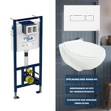 sanit classic wc komplettset vorwandelement betätigungsplatte wand wc inkl wc sitz mit absenkautomatik und take unidomo