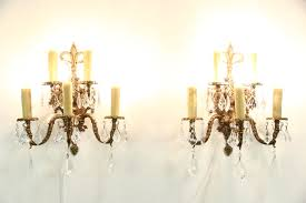 pair of vintage bronze 5 candle wall sconce light fixtures