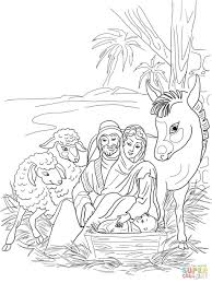 Coloring Pages Nativity Scene Holy Family Animals Page Printable Christmas Story Free