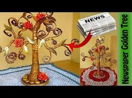 How To Make Beautiful Golden Tree With Waste Newspaper