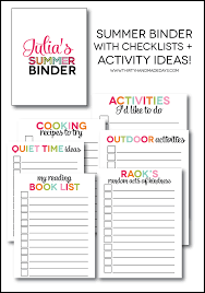 Printable Summer Binder Create A Full Of Fun For Your Kids This Beat The Boredom Blues Printables Each Section Include
