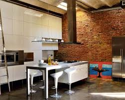 Interior Brick Wall Ideas With Modern White Bar Stool Design For