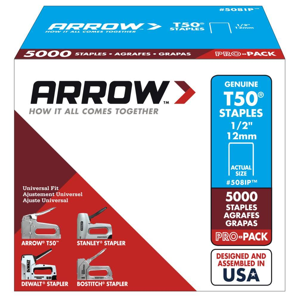 Arrow T50 Genuine Arrow Staples - Pack of 5000, 1/2 Inch