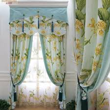 modern simple light green floral blackout curtains for living room