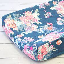 Coral And Navy Baby Bedding by Caden Lane Changing Pad Cover Charleigh U0027s Coral U0026 Navy Floral