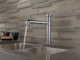 satin deck mount delta trinsic kitchen faucet two handle pull down