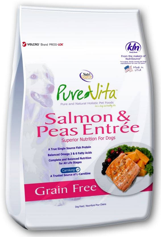 Pure Vita Grain Free Dog Food - Salmon and Peas Entree, 25lb