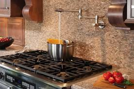 Kitchen With Gas Range And Chrome Pot Filler Faucet Useful Pot