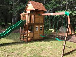 Playsets   Swing Set Installation MA CT RI NH ME Swing Sets Give The Kids A Playset This Holiday Sears My Tips For Buying And Installing A Set Or Outdoor Skyfort Ii Wooden Playsets Backyard Discovery Amazoncom Prestige All Cedar Wood Costco Gorilla Swings Frontier Walmartcom Creations Adventure Mountain Redwood Installation Interesting Playground Design With And Home Paradise Home Decor Amazing For Billys Ma Ct Ri Nh Me