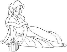 Download Coloring Pages Christmas Disney Princess Ariel Printable