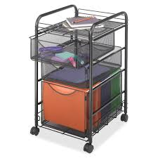 Three Drawer Filing Cabinet Dimensions by Black Metal Steel Mesh Mobile Filing Cabinet Cart With 2 Drawers