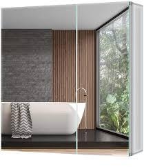 tokvon pigeonwing 65x60cm spiegelschrank badezimmer spiegelschrank wandschrank medizinschrank aluminium silber ip44 doppel türig