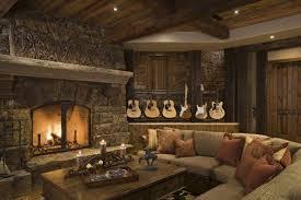 Interior Attractive Rustic Home Design Idea With Fire Place Combine Shaped Sofa And Square