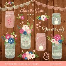 Mason Jar Clipart WEDDING MASON JARS Rustic Jars Wedding Invitation Lace Png ImagesCommercial Use