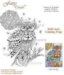 Moon Struck Fairy Tangles Owl Full And Stars Printable Adult Coloring Book Pages Sheets Owls To Color Books