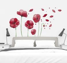 wandtattoo schlafzimmer mohnblumen