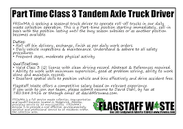 Part Time Class 3 Truck Driver Position | Flagstaff Regional Solid ... Class B Cdl Traing Commercial Truck Driver School Resume Sample Mhidgbalorg Jobs Template Saraheppscom Resumeliftcom Cdl Advanced Logistic Solutions Inc Staffing Samples Velvet Place Hshot Trucking Mazken