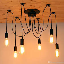 großhandel retro edison glühbirne licht spinne schwarze decke kronleuchter le für wohnzimmer moderne hängende esszimmer pendelleuchte len nicht