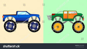 Blue Green Monster Trucks Big Wheels Stock Illustration 689475880 ...