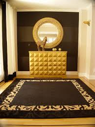 Gold leaf design entry contemporary with area rug gold accents