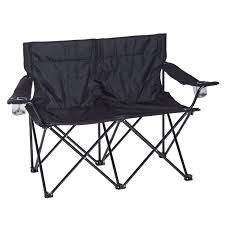 Outsunny Folding Double Fishing Chair Outdoor Picnic Twin Seat Garden Patio  Sports Furniture - Black