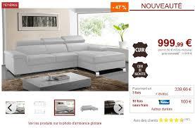 avis vente unique canape canapé d angle droit mishima en cuir de vachette blanc pas cher